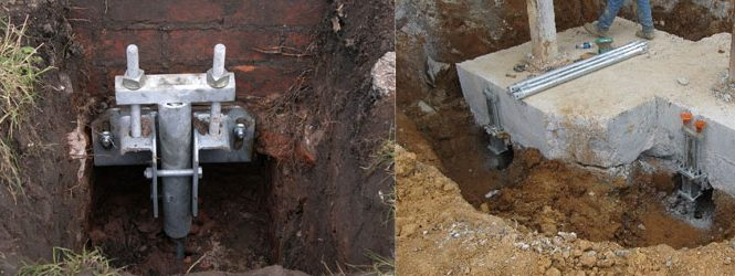 Foundation Underpinning Using Helical Piles and Helical Brackets